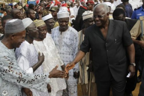 President Koroma greeted by Traditional Leaders