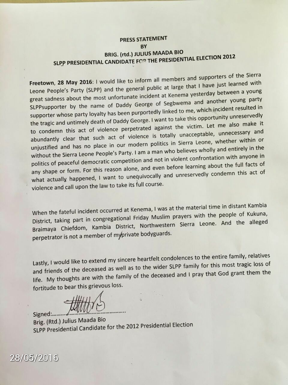Bio's statement after killing of SLPP supporter – May 2015
