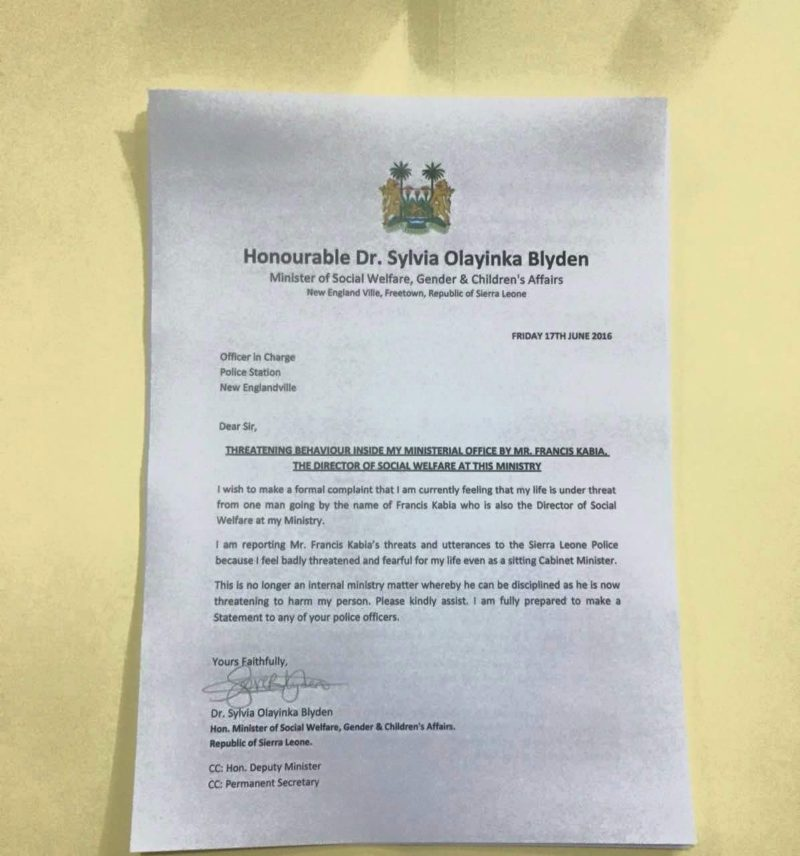 Letter sent to police by the minister