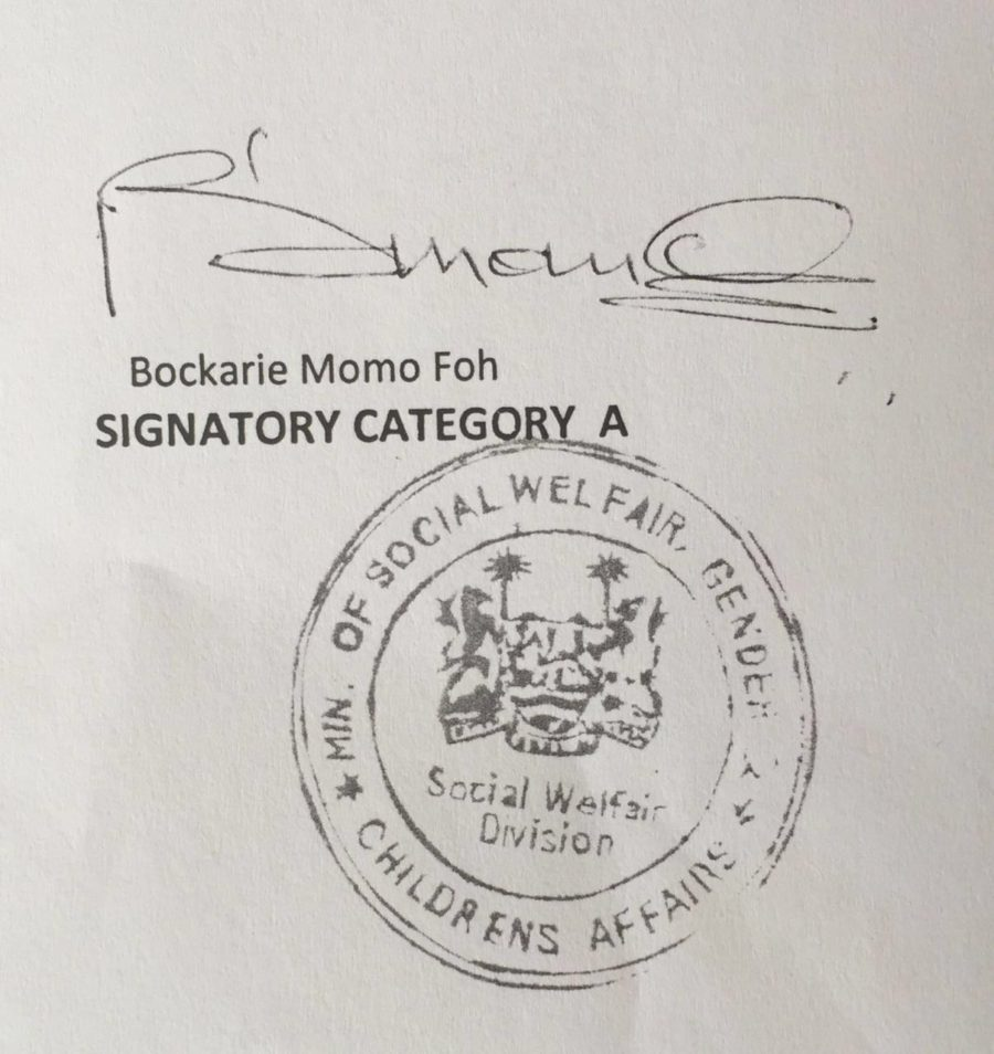Forged stamp on letter signed by senior official