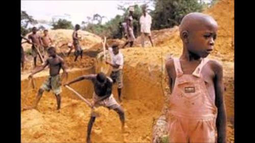 child labour – breaking rocks on hills