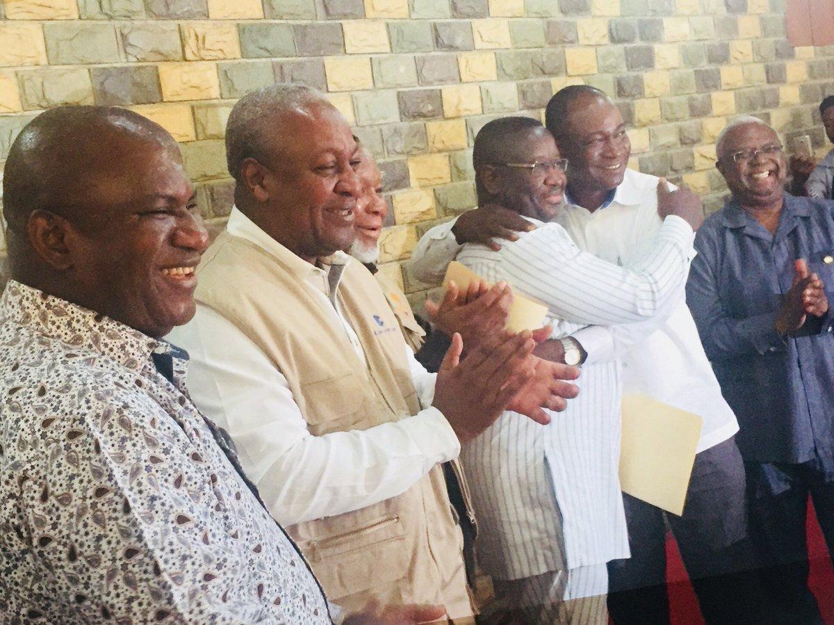 Maada Bio and Samura Kamara – peace embrace