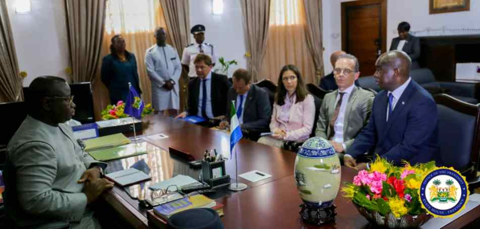Germany's minister for foreign affairs meets president Bio in Freetown