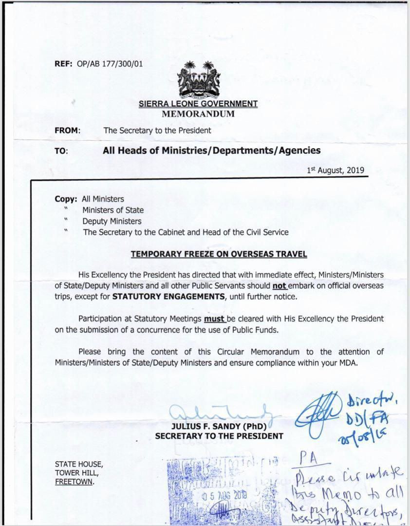 President Bio bans ministers and senior officials from travelling abroad