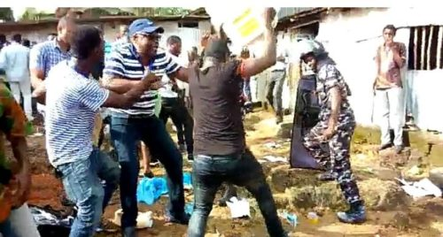 thugs destroying ballot papers at constituency 110