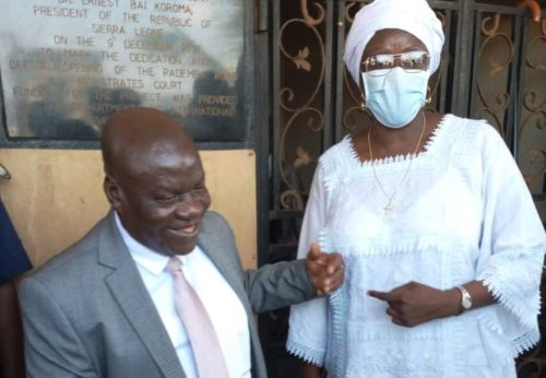 Attorney General Brewah and Dr. Sylvia Blyden after the press conference (2)