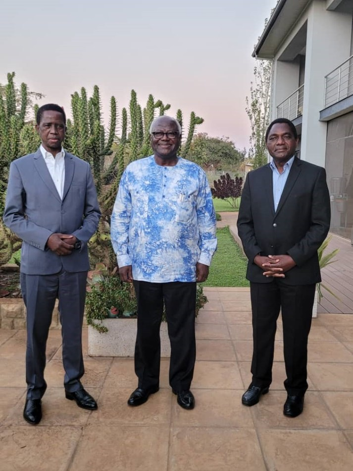 Former President Koroma Center President Elect Hakainda Hichilema Right and Outgoing President Edgar Lungu