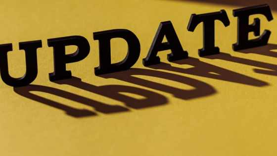 Splash image of Update text with a semi-3d effect, shadow cast over a yellow background.