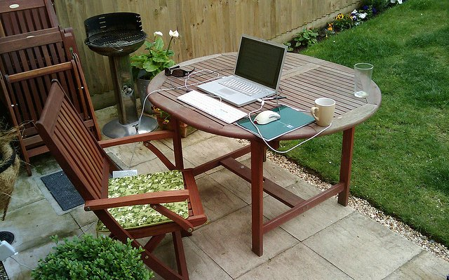 Home office in backyard - work from home jobs