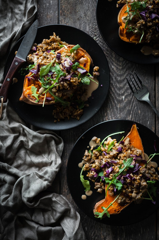 Mushroom Farro Sweet Potato- The Simple Green