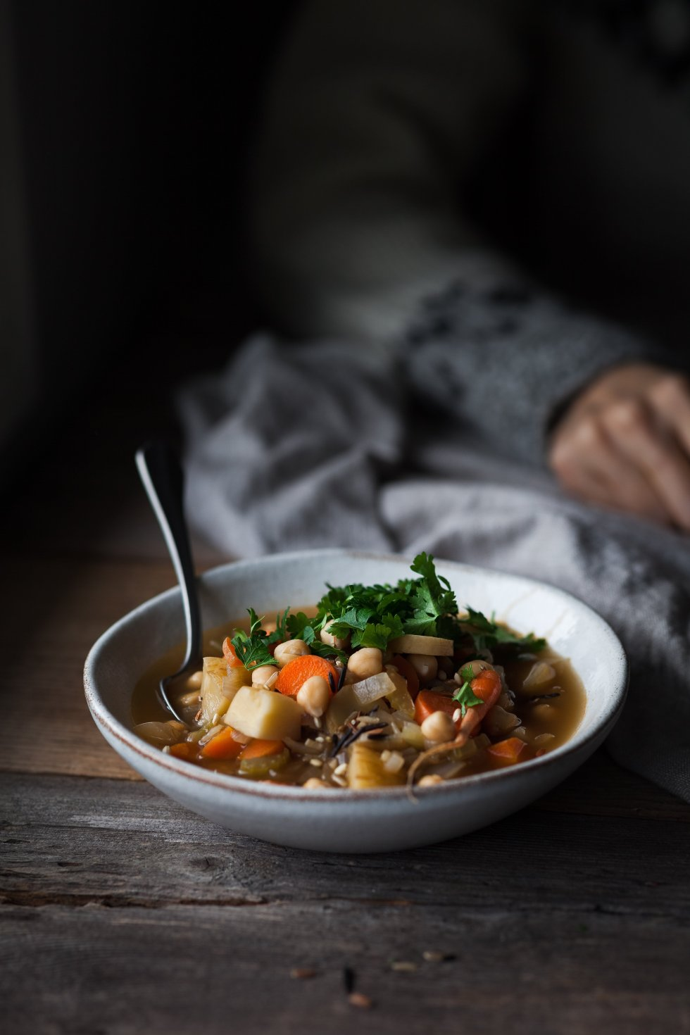 Winter Vegetable Soup with Chickpeas and Wild Rice head on shot