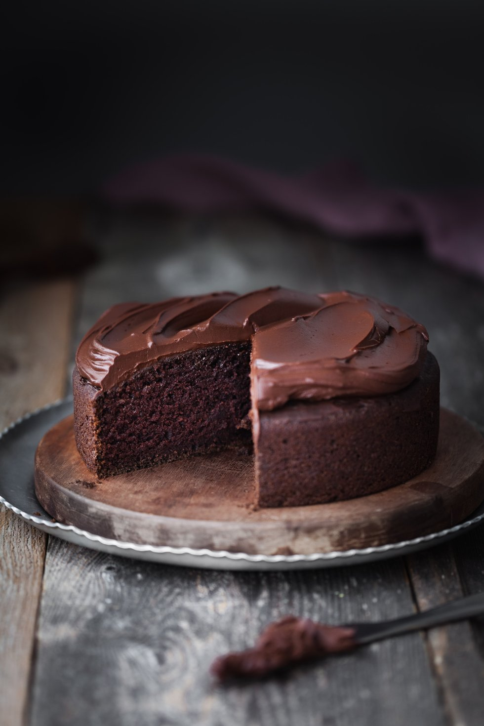 Double Chocolate Beetroot Cake with slice missing