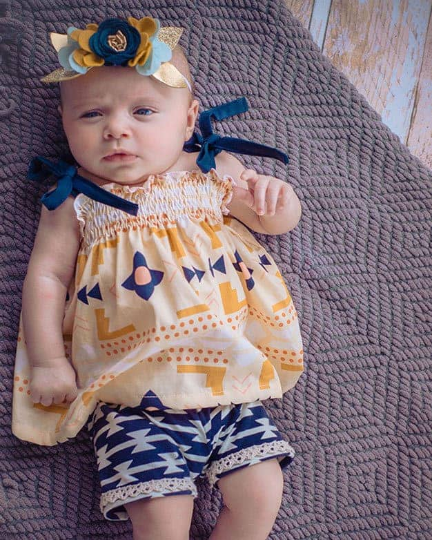 Baby Angie's Shirred Shirt + Elle's Shorts   The Simple Life Pattern Company
