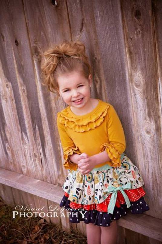 BUNDLE: Chloe's Ruffle Leggings, Capris & Shorties AND Cheyenne's Ultimate Ruffle Tshirt. PDF sewing pattern for toddler girl sizes 2t - 12.