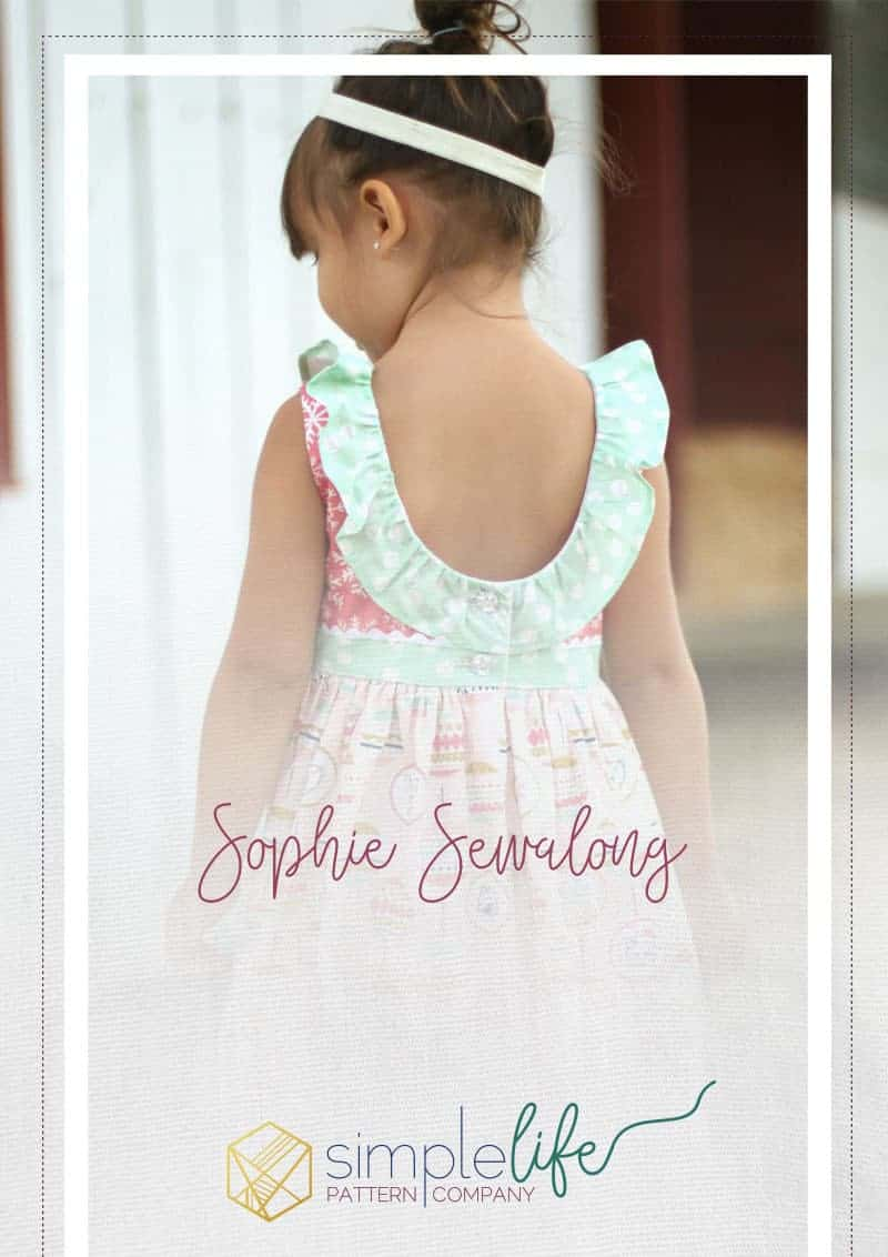 Sophie Dress | The Simple Life Pattern Company fast easy beginner PDF sewing pattern downloadable top dress long sleeves cap sleeves ruffle dress top scoop back button back open back spring summer fall winter back to school dress holiday fancy special occasion party dress