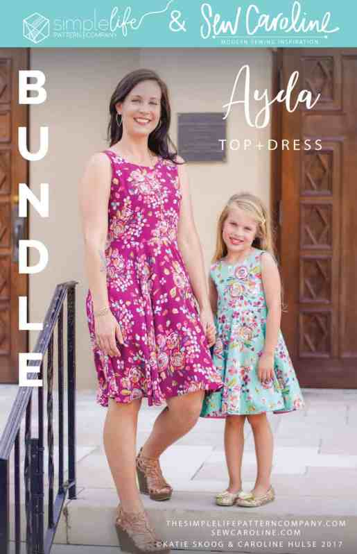 Simple life pattern company in collaboration with Sew caroline women pdf sewing patterns Ayda V back peplum top and dress open back flutters tank easy modern sewing patterns ladies mommy momma and me girls beginner easy fast Womens and girls bundle sewing pattern sew mommy and me