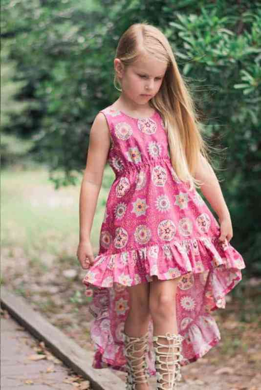 SImple Life Pattern Company Harmony's top dress maxi high low pdf sewing pattern girls 2t-12 slpco a line ruffle boho beach dress elastic waist scoop neckline no closures beginner sewing pattern kids spring summer fall winter fashion style trendy bohemian