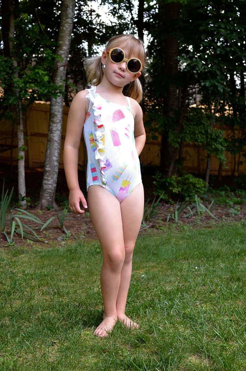 Simple Life Pattern Company Lorelei's Flutter Side Cut Out Swimsuit pdf sewing pattern girls 2t-12 slpco swimsuit flutter side cutout summer one shoulder strappy trendy