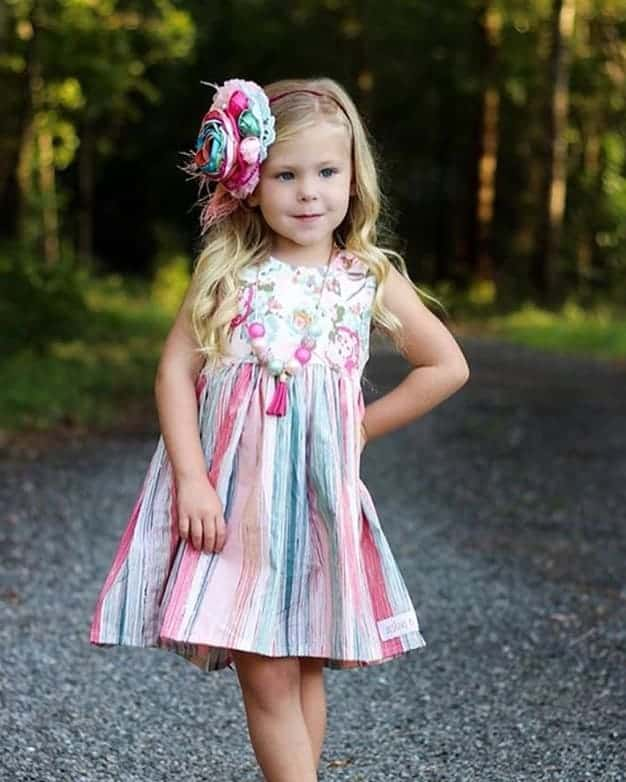 Adelyn Scoop Back Top + Dress | The Simple Life Pattern Company knit woven combo pdf sewing pattern baby girls babies tween scoop back lined bodice tie bow back circle skirt or gathered skirt top or dress length. long sleeves spring summer fall winter play dress puff sleeve empire bodice