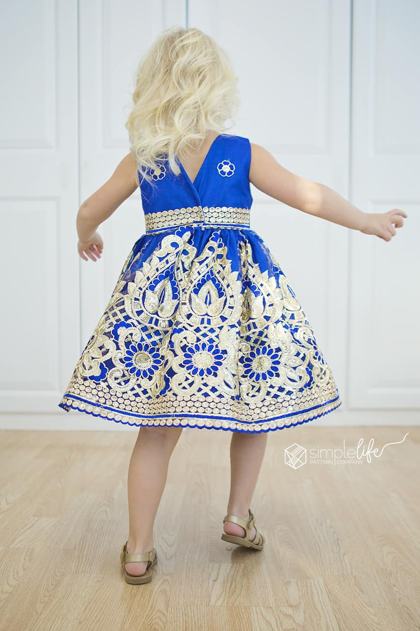 Simple Life Pattern Company Jaimesyn's Double Flutter sleeve party dress special occasion holiday christmas dress. PDF sewing pattern fast easy downloadable printable sewing pattern beginner cobalt blue and gold fancy lace dress v back open back