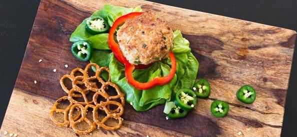Jalapeno Pretzel Chicken Burgers