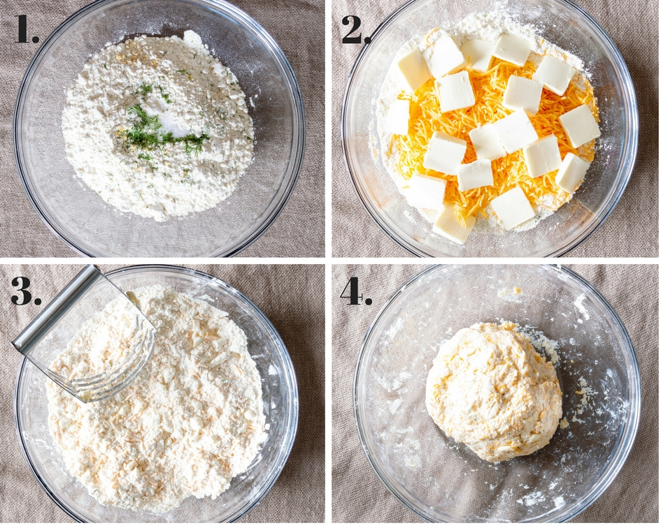 collage of instructions to make pie dough