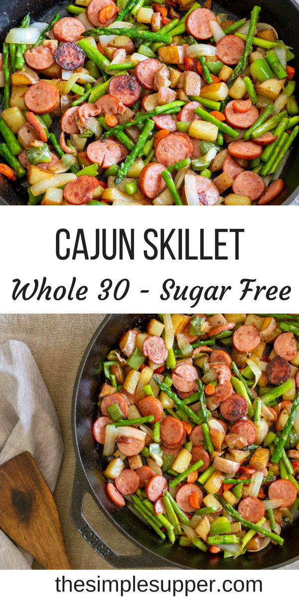 This Spicy Cajun Asparagus and Sausage Skillet is the #quickandeasy dinner your family needs! Packed with seasonal veggies and even more flavor this meal is healthy, fresh and perfect for a busy weeknight meal. Bright, crisp asparagus and tender red potatoes make this a recipe your family is sure to love. It's great for those that are #whole30 #glutenfree #dairyfree and #sugarfree too! Get the recipe at thesimplesupper.com #thesimplesupper