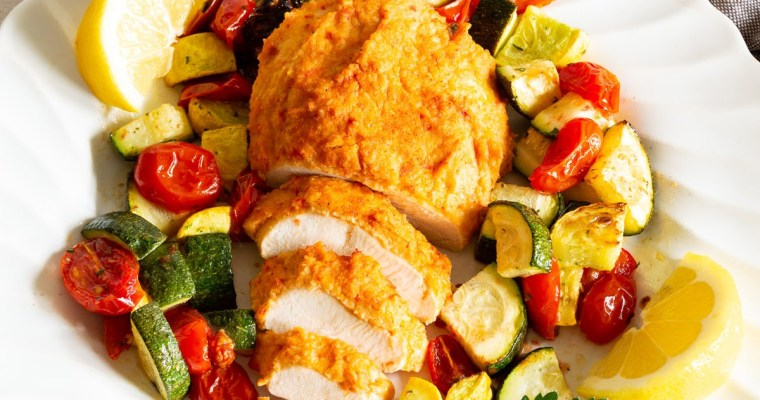 Hummus Baked Chicken with Vegetables