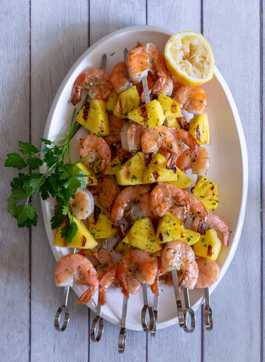 Buttery Grilled Shrimp and Pineapple Kabobs