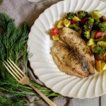 Tilapia and Roasted Vegetables seasoned with dill.