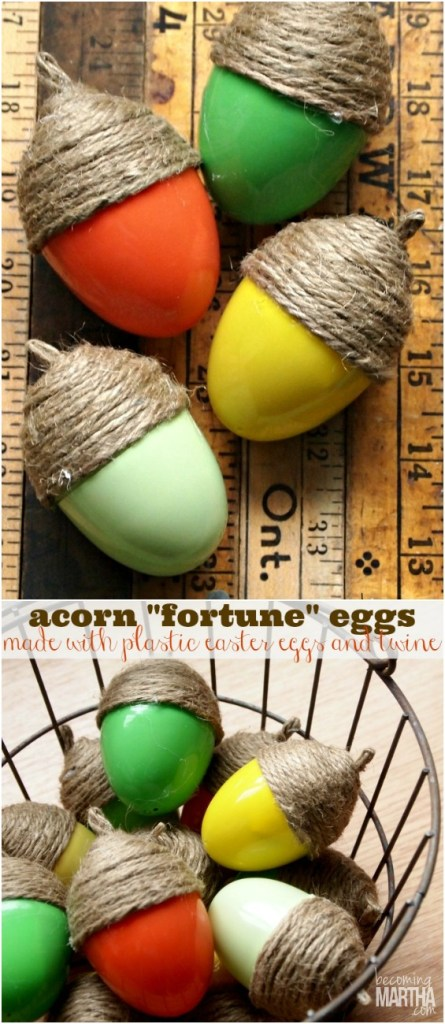 "Thanksgiving acorn fortune eggs - simple to create and can be filled with thanksgiving ""fortunes"" and treats!"