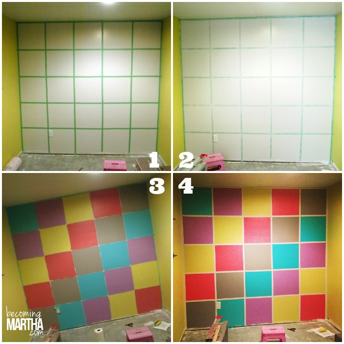 Colorful Playroom Grid Wall with Vinyl Words - The Simply Crafted Life #vinyl #playroom #accentwall