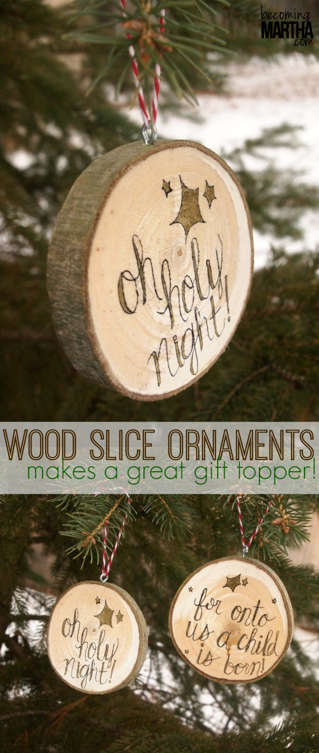 wood slice ornaments tall