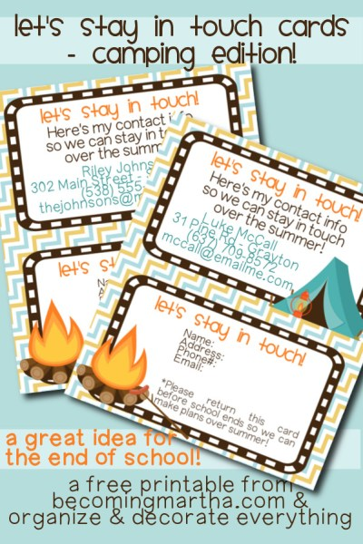 Let's Stay in Touch Cards - a great idea for the end of the school year!