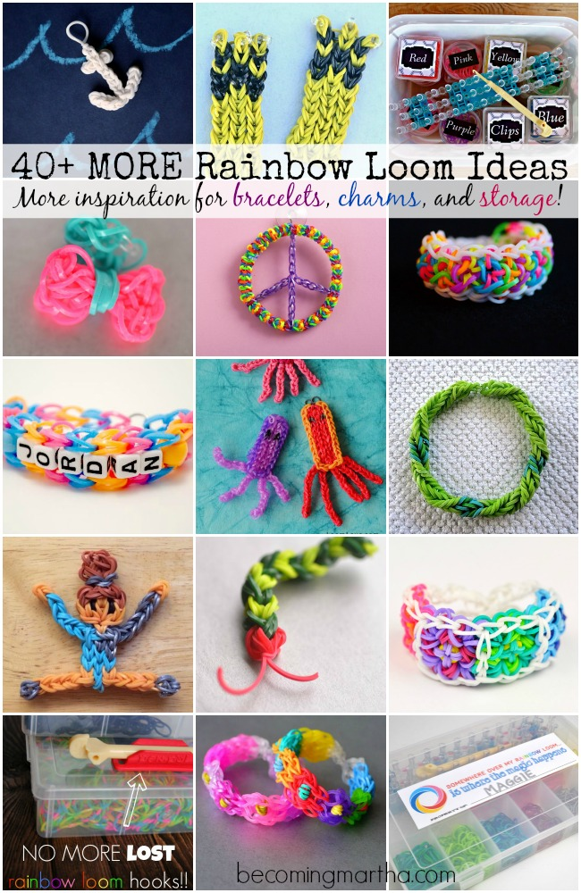 40+ Rainbow Loom Ideas - Bracelets, Charms, Storage, and more!