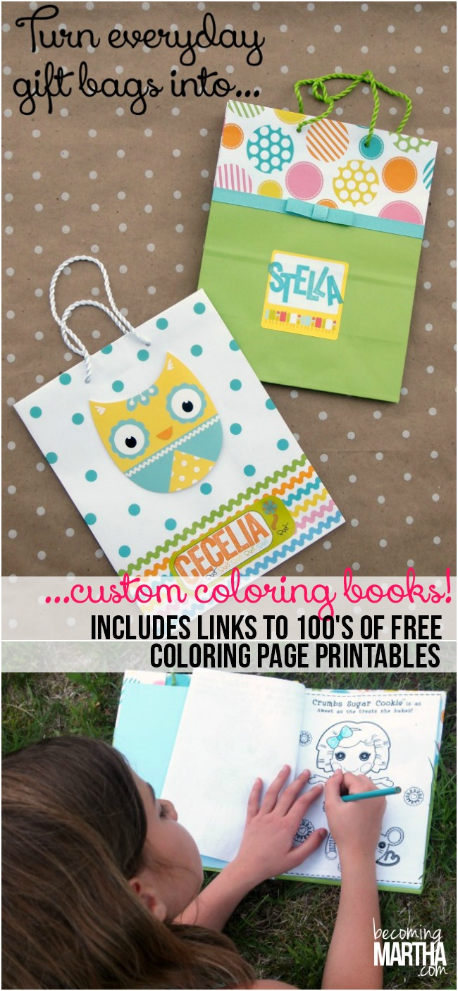 Turn everyday gift bags into custom coloring books!  Also, check out the link for official free downloads for everything from Doc McStuffins to Barbie, Lego to Frozen!