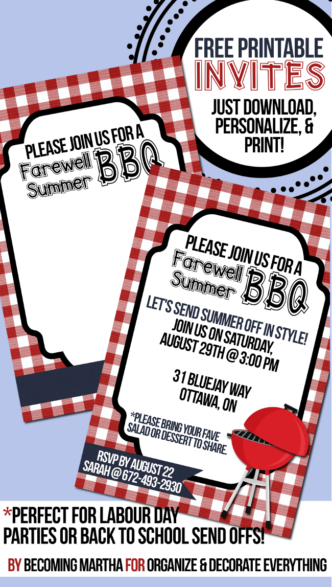 image regarding Free Printable Bbq Invitations called Farewell Summertime - Cost-free Printable BBQ Invites