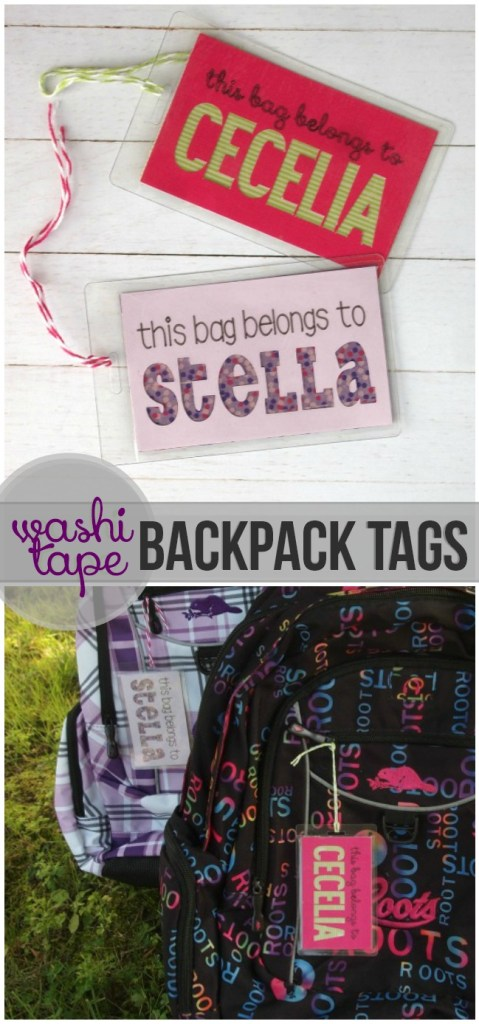 These washi tape backpack tags are easy to create with your Cricut Explore!