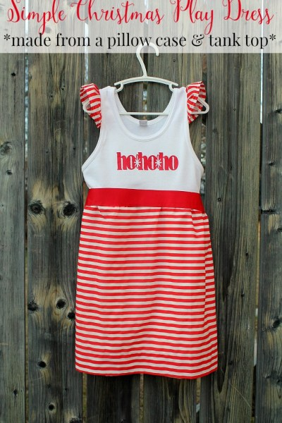 Make thie adorable Christmas dress in under an hour with just a pillow case and a tank top!