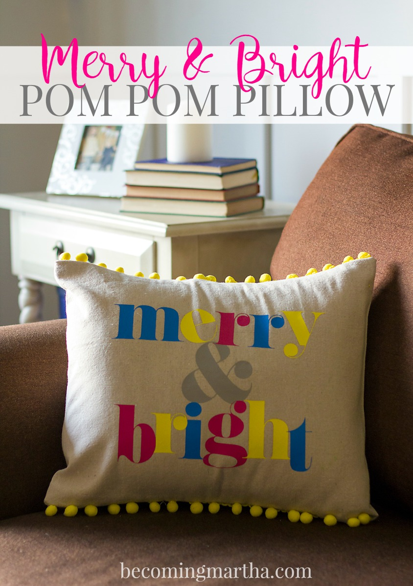 This DIY Merry and Bright Christmas Pillow with Pom Pom trim is a great way to add a splash of color and whimsy to your Christmas decor this year!