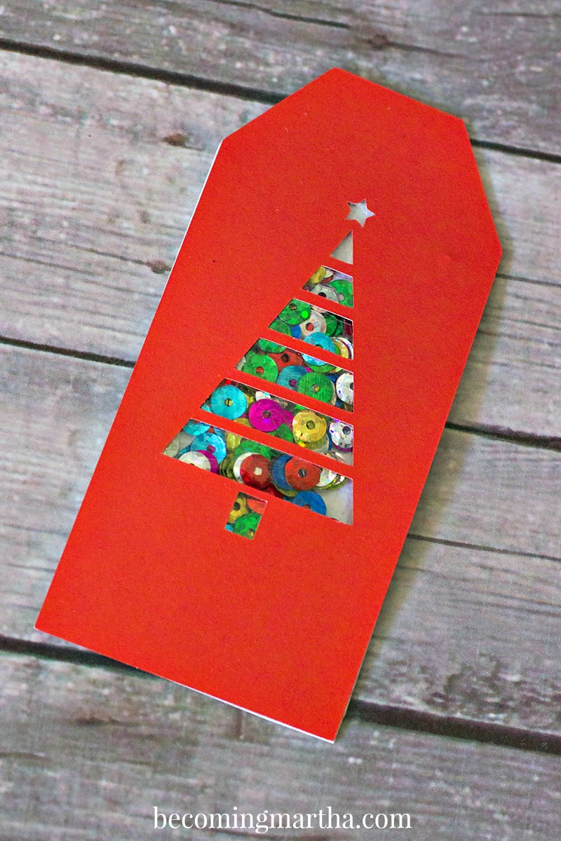 SHAKER CARD 3aLooking for a great Free Christmas Card SVG? This Glitter & Sequin Shaker Card (with matching gift tag) is a free download and comes with a complete project how to!