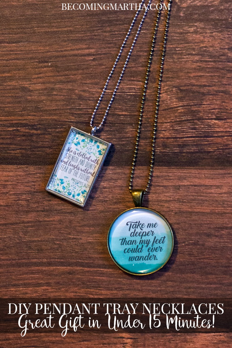 This DIY Pendant Tray Necklace makes a great gift and can be created in under 15 minutes - how's that for quick gift giving?!
