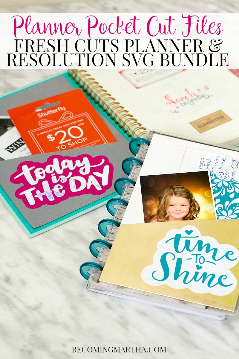 These Cut Files for Planners will customize your agenda in no time. The Fresh Cut New Year SVG Bundle has pockets, dividers, stickers, and so much more!