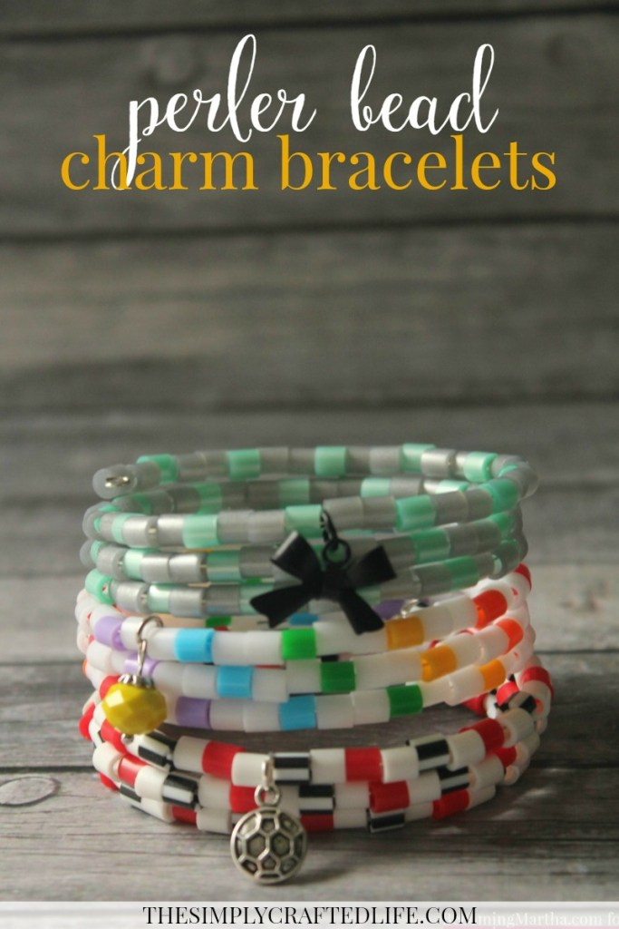 Perler Bead Bracelet with Charm