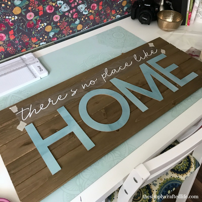 Cutting chipboard for home decor sign