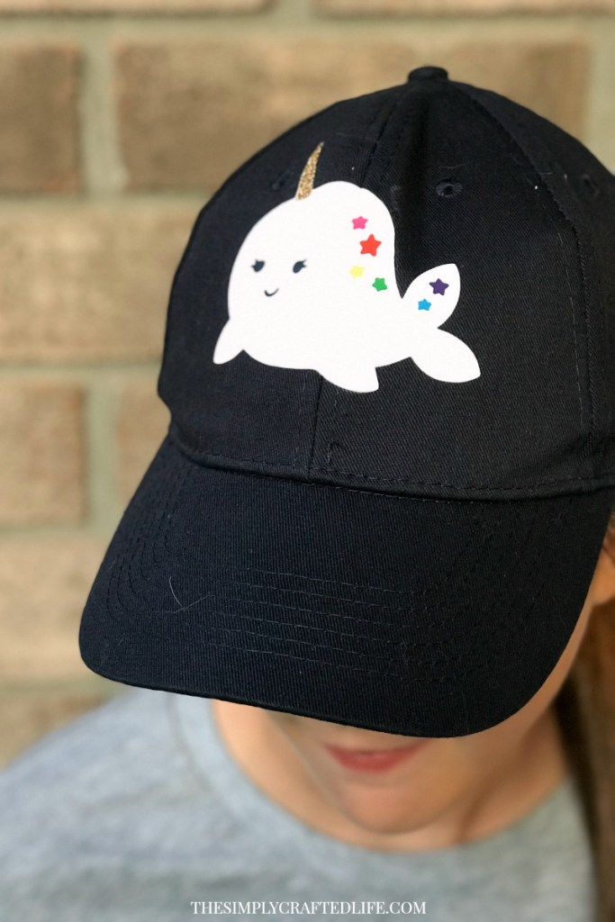 Cute Rainbow Narwhal Hat made with Cricut EasyPress Mini