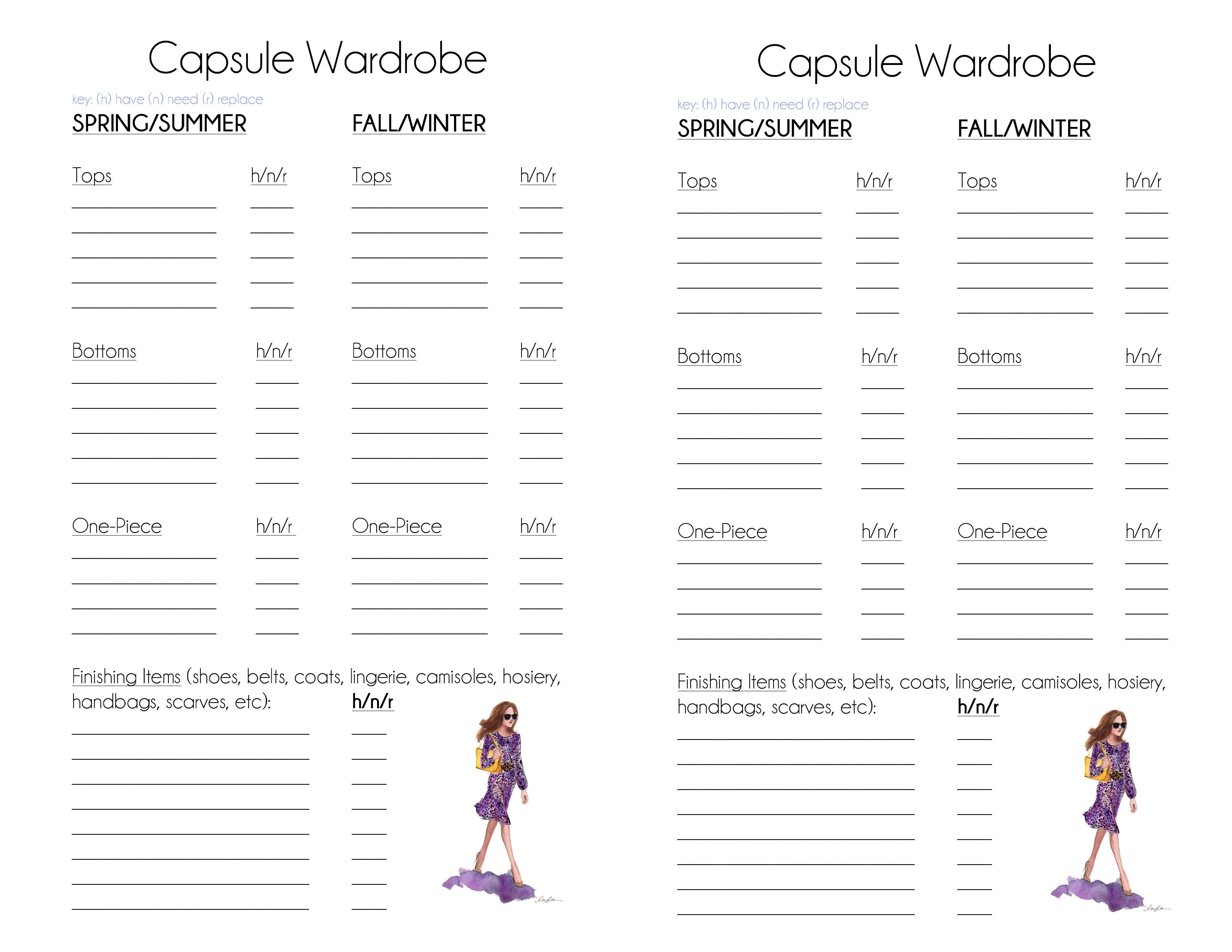 Fall Capsule Wardrobe Planning Sheet