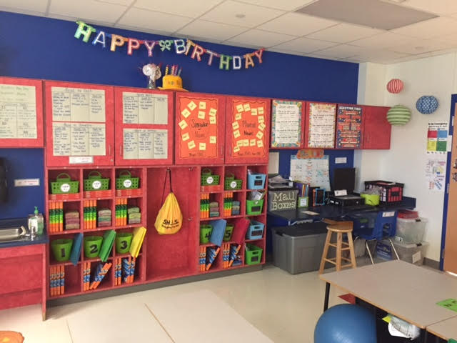 This classroom has been organized and is ready for a class full of 2nd grade students.