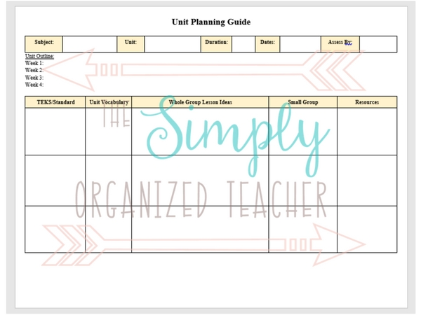Classroom Management Series: Lesson Planning Template for unit plans