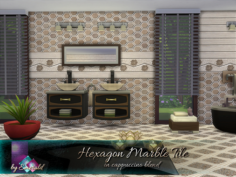 https www thesimsresource com downloads details category sims4 sets wallsfloors title hexagon marble tile in cappuccino blend id 1456246